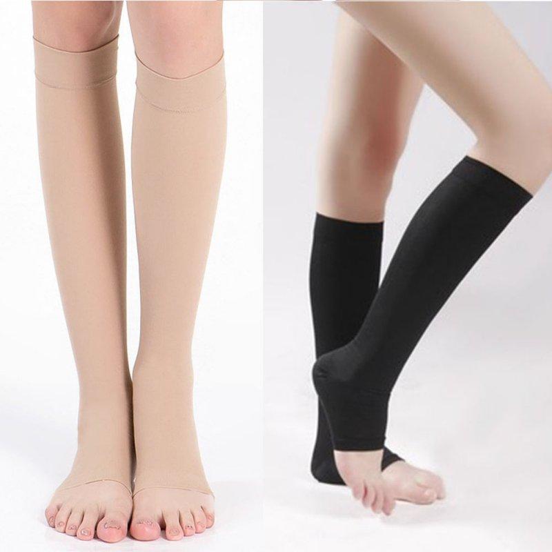 c588e118f0 Women Men Knee High Open Toe Stockings Elastic Compression Stockings Leg  Support Thigh High Hosiery