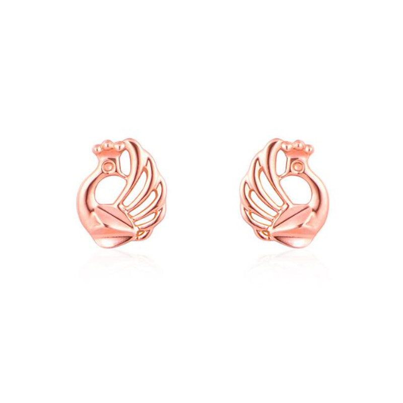 2018 18K Gold Beautiful Peacock Earrings For Women Fashion AU750 Gold Jewelry Christmas Gifts Stud Earrings New 0.60g цена