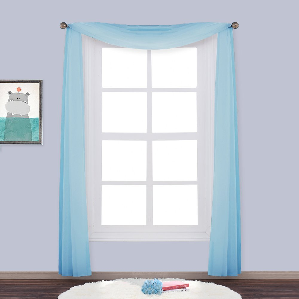 Nicetown Window Treatment European Style Sheer Voile Scarf Valance Curtains Panel For Living
