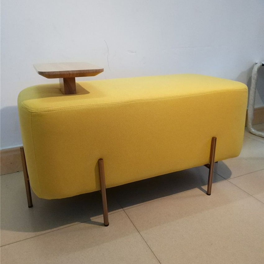 Living room furniture Sofa Chair Bench 90*45*42CM(Table High 8cm) Ottoman Stool Linon Cotton fabric with304 stainless steel legs madrid tufted fabric ottoman bench