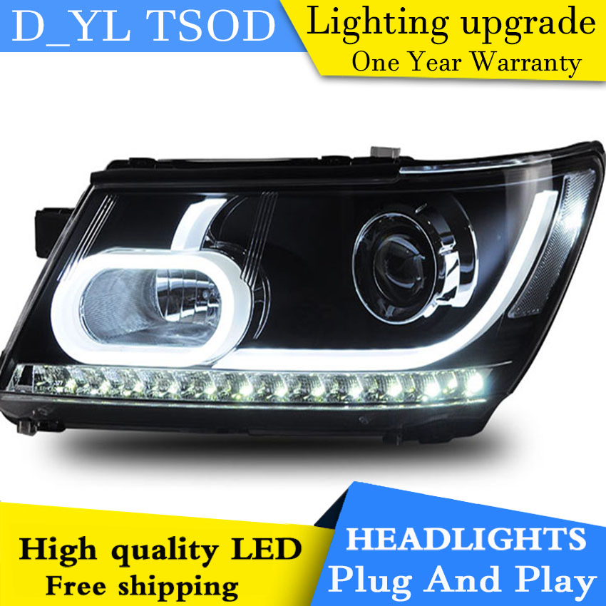D YL Car Styling for Dodge Journey Headlights 2009 2015 Journey LED Headlight DRL Lens Double