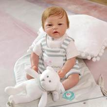 52cm Reborn Baby Simulation Baby Handmade Silicone Doll Lol Child Play With White Bear Plush Toy Baby Educational Toy Doll(China)