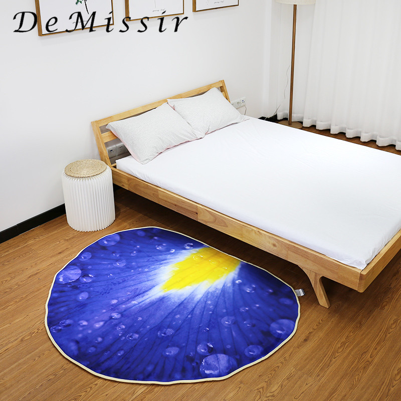 2018 New Purple Petal 3D Print Carpet For Living Room 125x148cm Chair Pad Home Decorate Children Kids Play Mat Floor Rugs