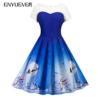 Enyuever Blue Christmas Dress Women 2018 Lace Vestido Vintage Santa Snowman Print Robe De Noel Rockabilly Party Dress Kerst Jurk