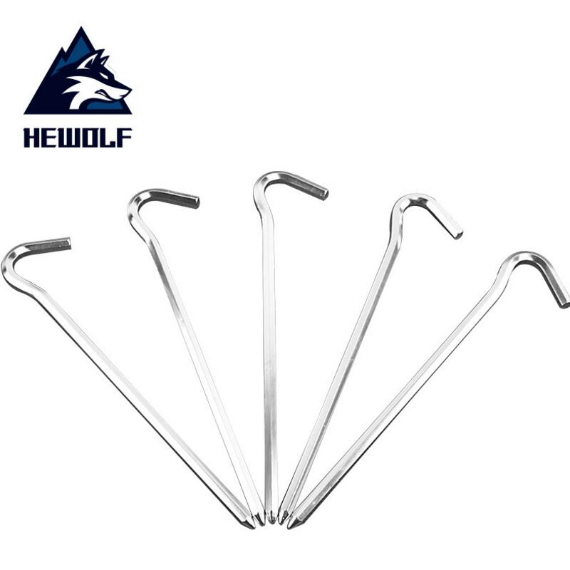 HEWOLF 10pcs/lot Tent Peg 18cm lightweight Aluminum alloy tent nail outdoor Camping tent Accessories Equipment pegs