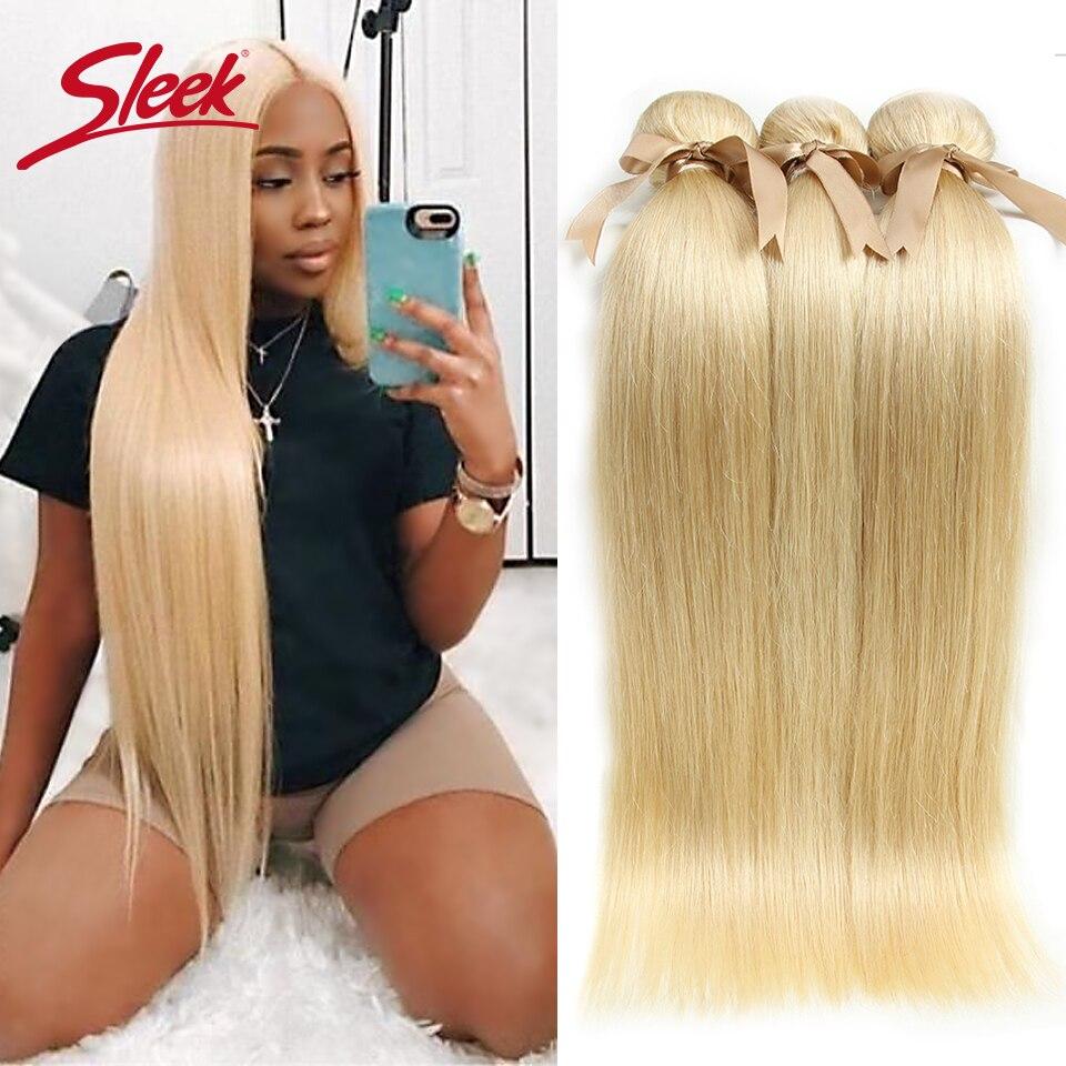 Sleek 613 Honey Blonde Bundles Straight Hair Brazilian Hair Weave Bundles 100% Straight Remy Hair Extensions 10 To 26 Inches