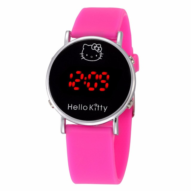 Hot Sale Cat Cartoon Hello Kitty Watch Baby Clock Children Led Display Girl Wrist Kids Child Clock Cute Silicone Relogio Enfant