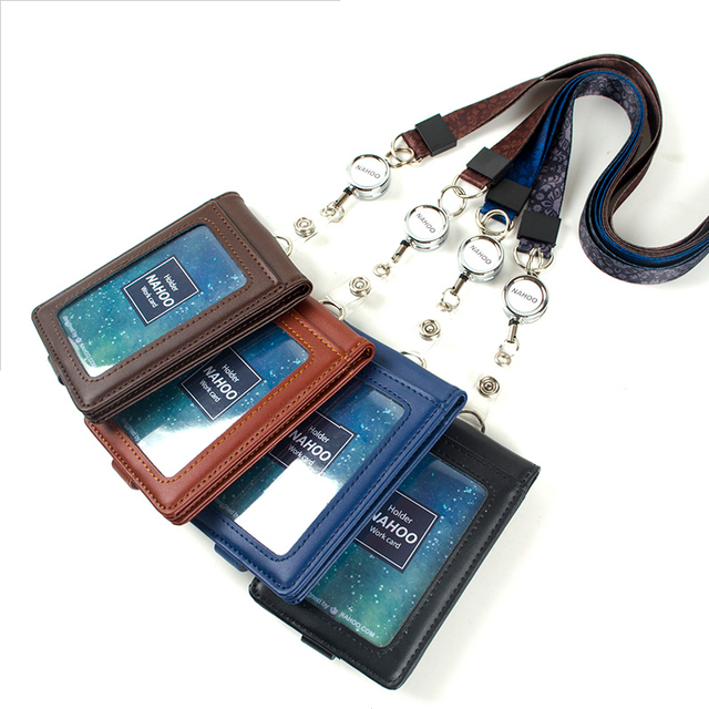 Badge holder with lanyard Genuine leather Bank Credit Card Holders case Neck Strap Card Bus holders customized Wholesale Working