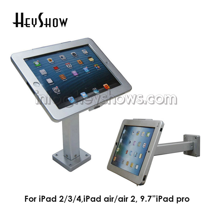 Wall Mounted Computer Tablet Display Stand Secure Tablet Enclouse Bracket Metal Wall Key Holder With Lock For iPad 2/3/4 Air