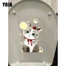 Yoja 14*24.3 cm pintados à mão gatos bonitos e pegadas toalete adesivo decoração da parede decalque T1-0130