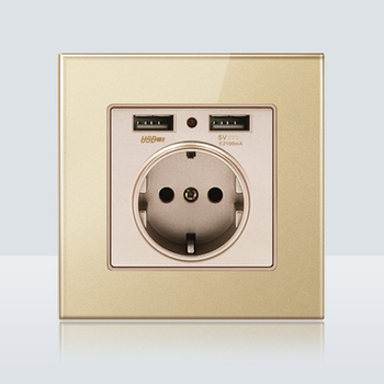 with USB Champagne Gold 1 2 3 4 Gang 1 Way 2 Way Glass Mirror Switch 86 type Wall Switch France Germany UK socket Household 13