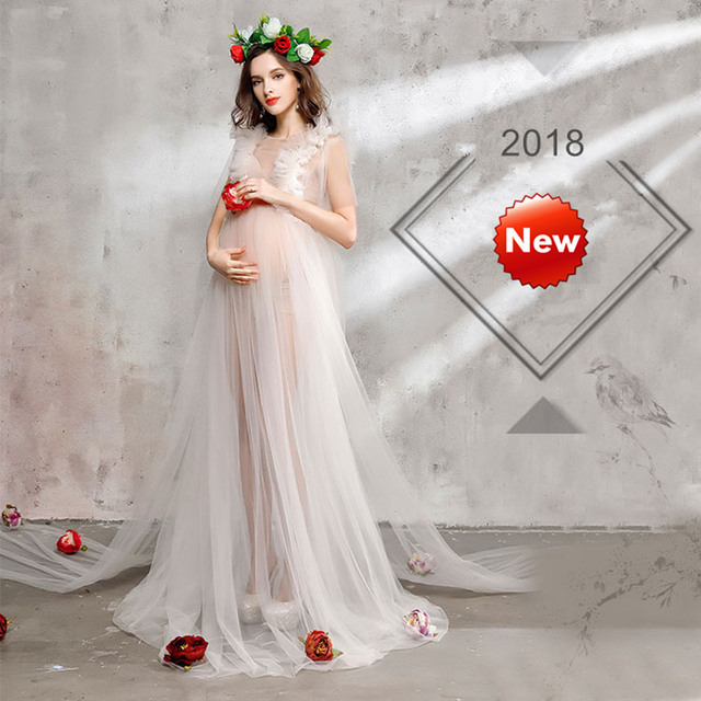 2018 New Women Pregnancy Maternity Dresses for Photo Shoot Solid Tulle  Dress Long Pregnant Dress Maternity Clothes c389b3e3c53b