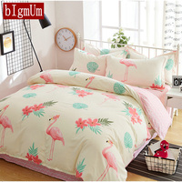 Cartoon 100% Cotton Fabric Animal Duvet Cover+Bedsheet+Pillowcase 4pcs Crowned Crane Bedding Sets King Queen Twin Single For Kid