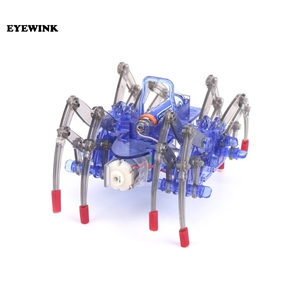 Spider robot DIY technology small production electric crawling science toy assembling material gift color box 0.25-X(China)