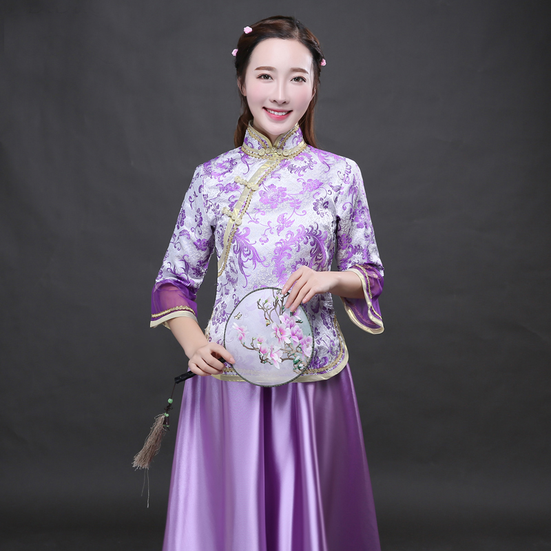 Classical Purple Chinese Traditional lady Sets Bridesmaid Dress ...