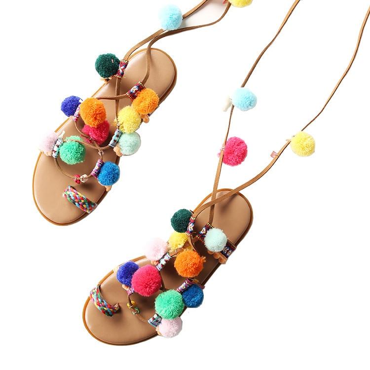 couleur à Pom mode Mesdames multi robe bohème la plate sandales qwxg8xSB