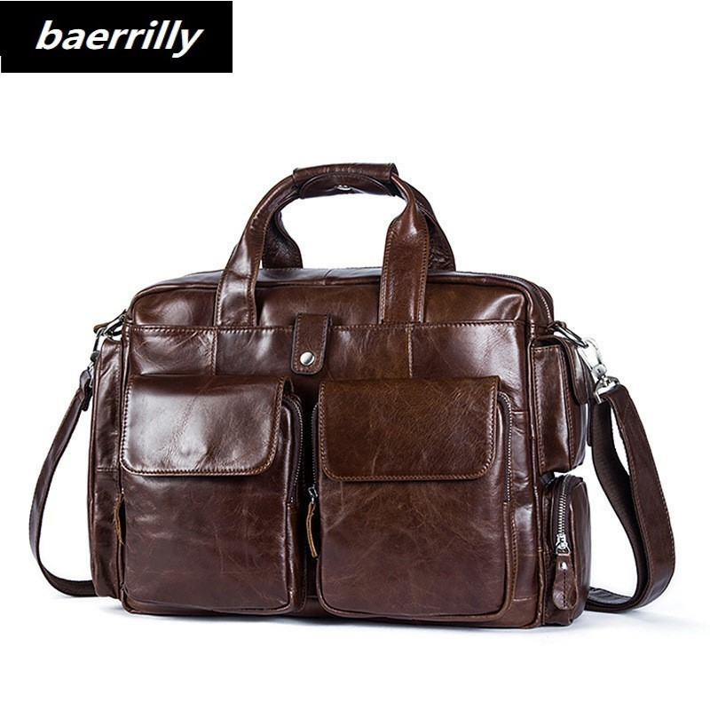 HOT Vintage Crazy Horse Leather Men's Briefcase Laptop Bag Business Bag Genuine Leather Briefcase Men Shoulder Bag Crossbody bag retro crazy horse genuine leather bag business laptop bag briefcase men leather crossbody bag shoulder messenger men tote bag