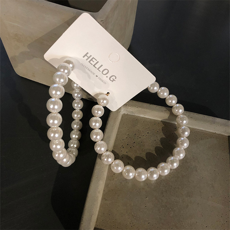HTB1NSxCa6zuK1Rjy0Fpq6yEpFXaA - Fashion Simulated Pearl Statement Big Small Hoop Earrings for Women Exaggerate Circle Earrings Personality Nightclub Jewelry