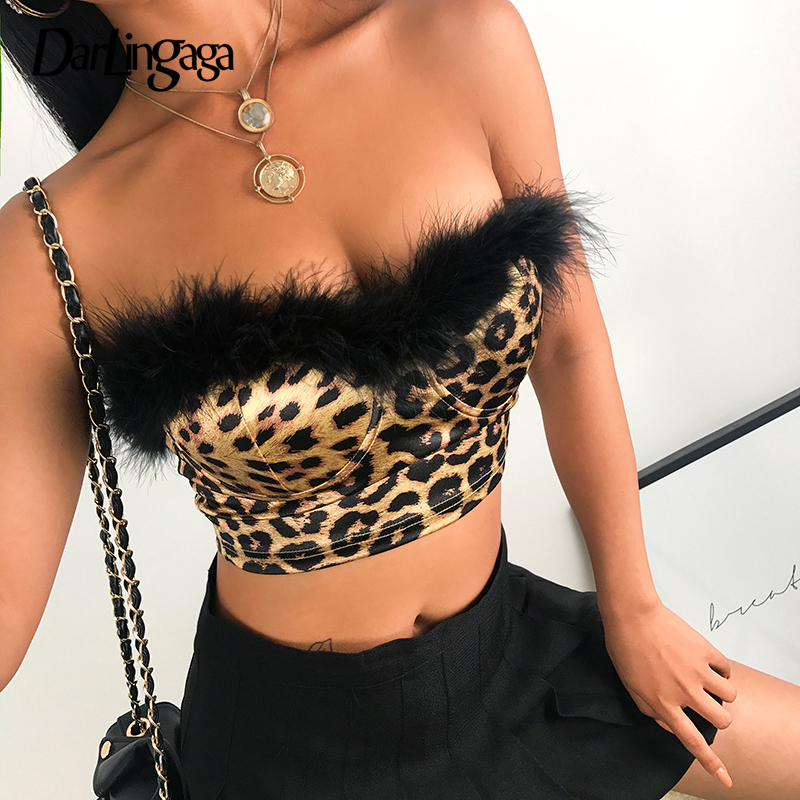 230216f37b9 Darlingaga Hot Sale leopard print strapless tank top feather patchwork  fashion party top short bandeau summer