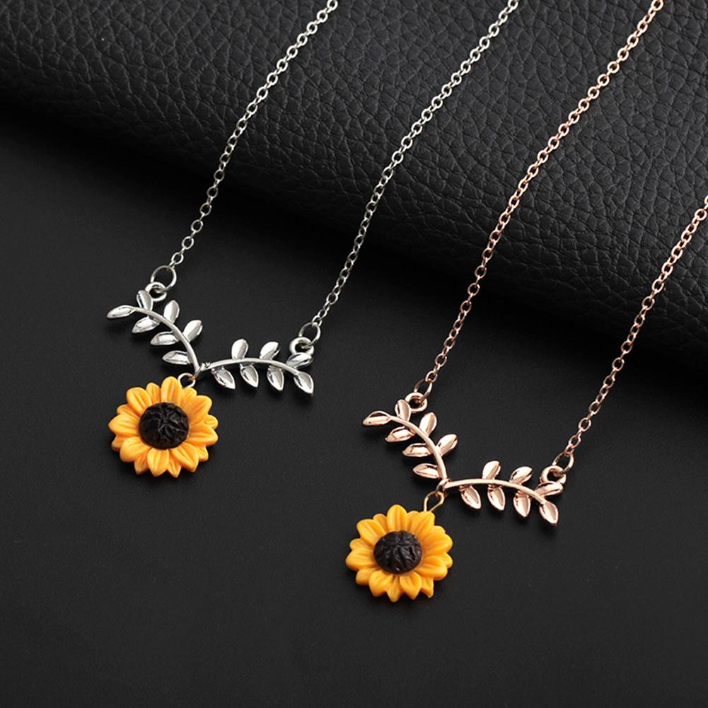 Fashion Cute Rose Gold Sunflower Leaf Branch Pendant Women Clavicle Necklace Jewelry Birthd Gift