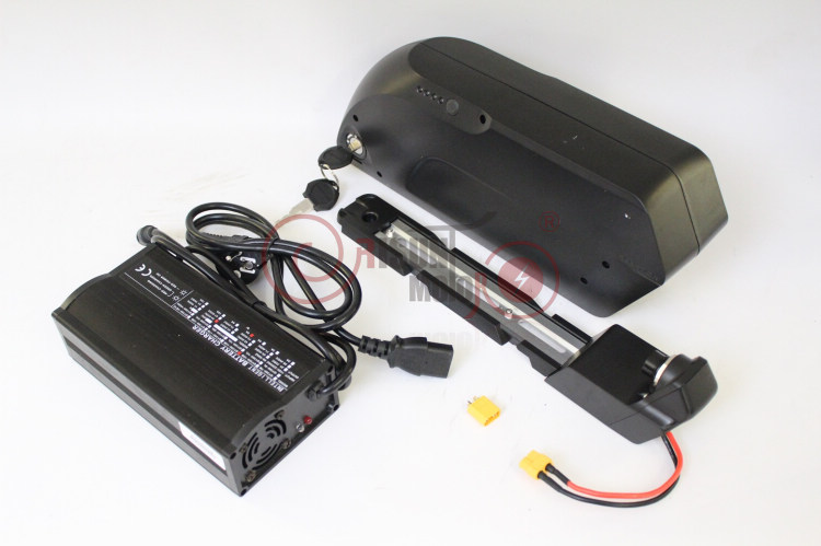 ConhisMotor 48V 17.5AH Ebike Down Tube Lithium Battery TIGER SHARK 3.7V 18650 Cell BMS+2A or 5A Charger+USB For Mobile Charging free customs taxes super power 1000w 48v li ion battery pack with 30a bms 48v 15ah lithium battery pack for panasonic cell
