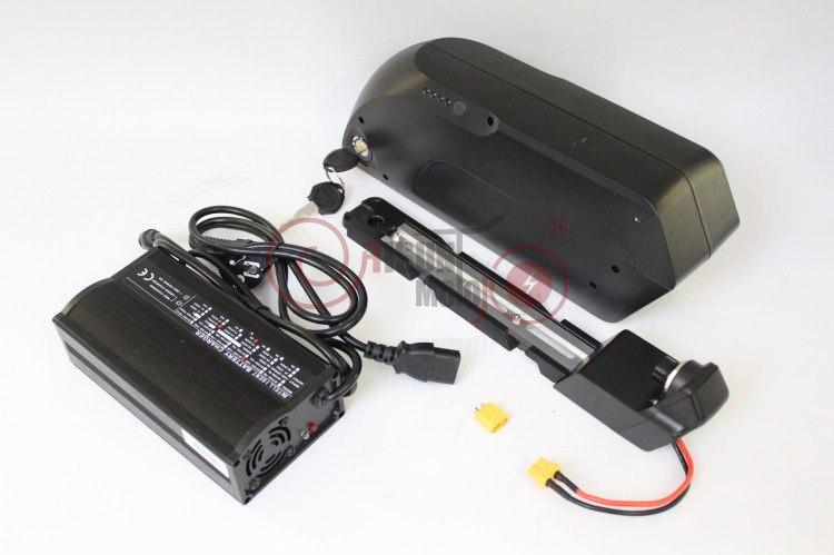 Conhismotor 48 В 17.5ah Ebike Подпушка трубка литиевая Батарея тигровая акула 3.7 В 18650 ячейки БМС + 2A или 5A зарядное устройство + USB для зарядки мобильных