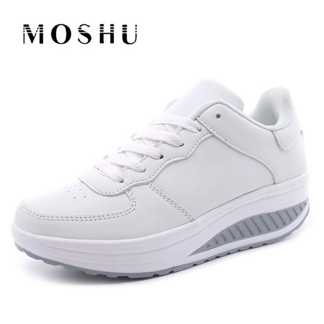 Summer Women Sneakers White Platform Wedges Casual Shoes Basket Femme Female  Air Mesh Trainers Black Size 34b4ce475