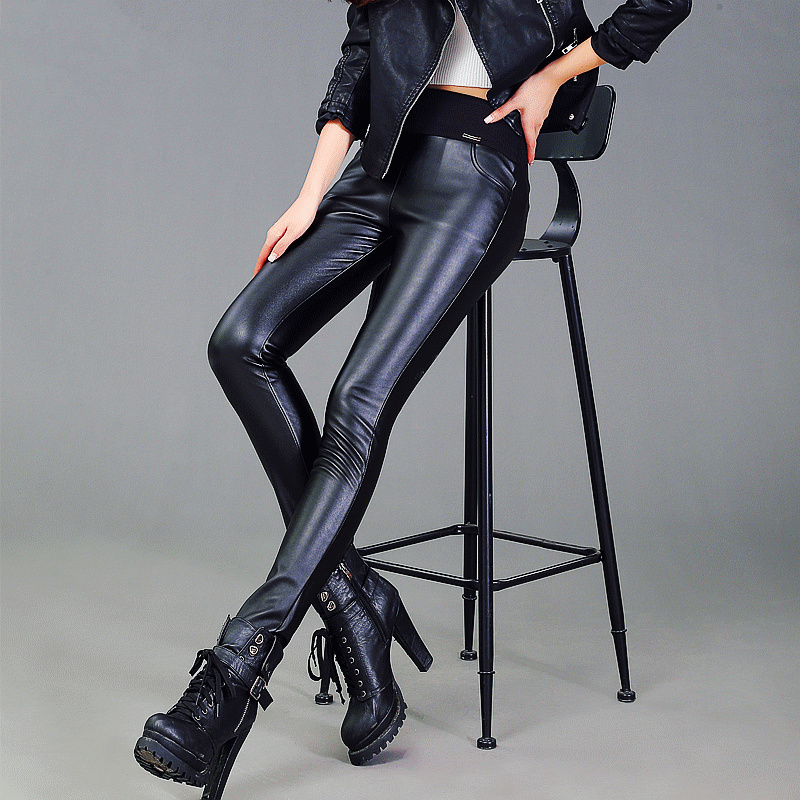 Women Large size new leather Autumn Korean version thin trousers tight leather pants waist feet slim PU female pants S2473