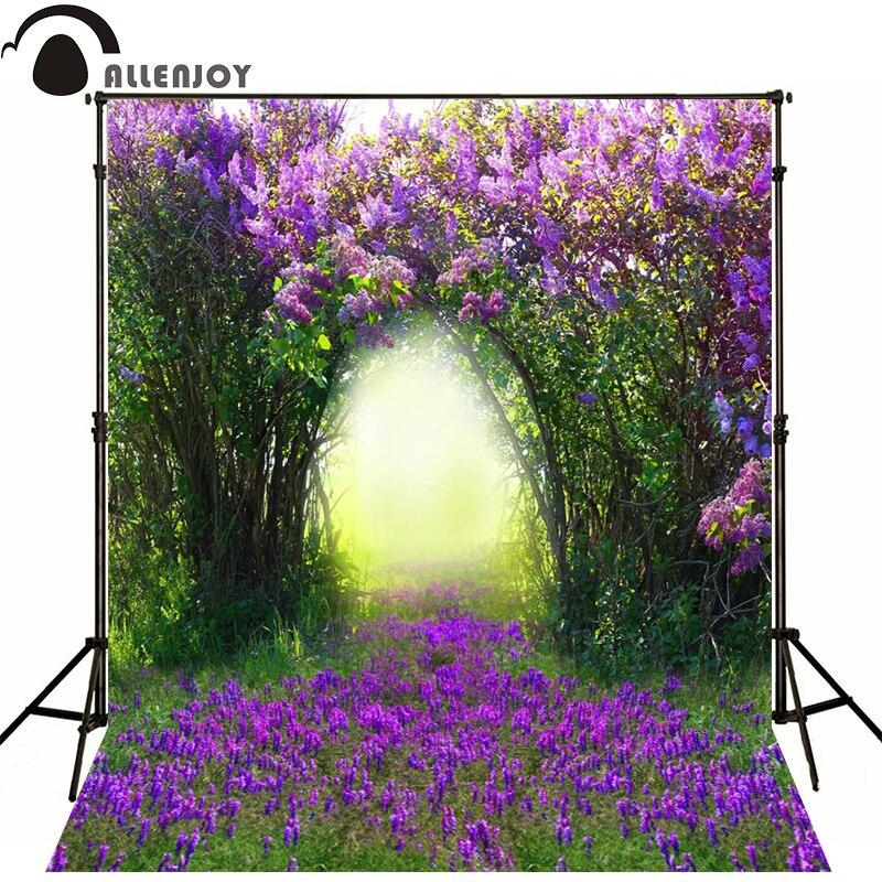 Allenjoy Photographic spring wedding background purple flowers lavender plant newborn vinyl backdrops photography photocall