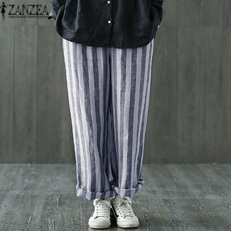 2018 ZANZEA Striped Harem Pantalon Cotton Linen OL Long Trousers Summer Women Casual Vintage Pockets Loose Work   Wide     Leg     Pants