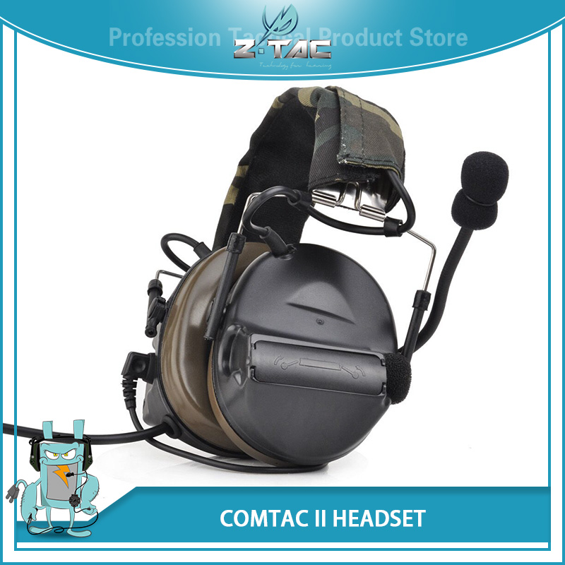 Z Tactical Comtac II Headsets Peltor Airsoft Element Hunting Midland Radio Headsets Active Noise Canceling Headphones Paintball цена 2017