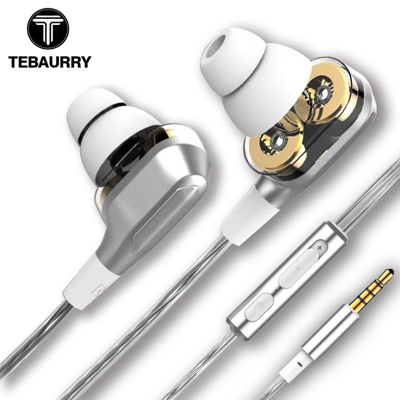 TEBAURRY T11 Dual Driver Unit Earphone Super Bass Headset Earbuds With Micrpphone fone de ouvido Stereo HIFI Earphone for phone