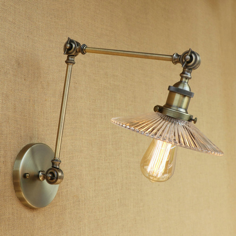 Vintage Loft Industrial wall lamp glass lampshade LED bulb free adjust long swing arm for room bedroom restaurant bar LED E27 Vintage Loft Industrial wall lamp glass lampshade LED bulb free adjust long swing arm for room bedroom restaurant bar LED E27