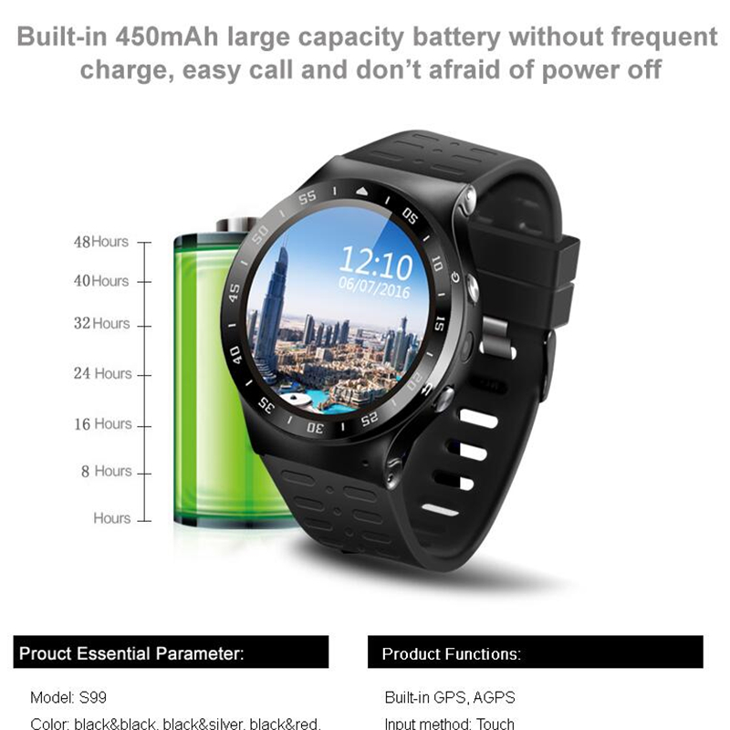 Android 5.1 Smart Watch S99 MTK6580 Quad Core Support Google Voice GPS Map Bluetooth Wifi 3G Smartwatch Phone Heart rate