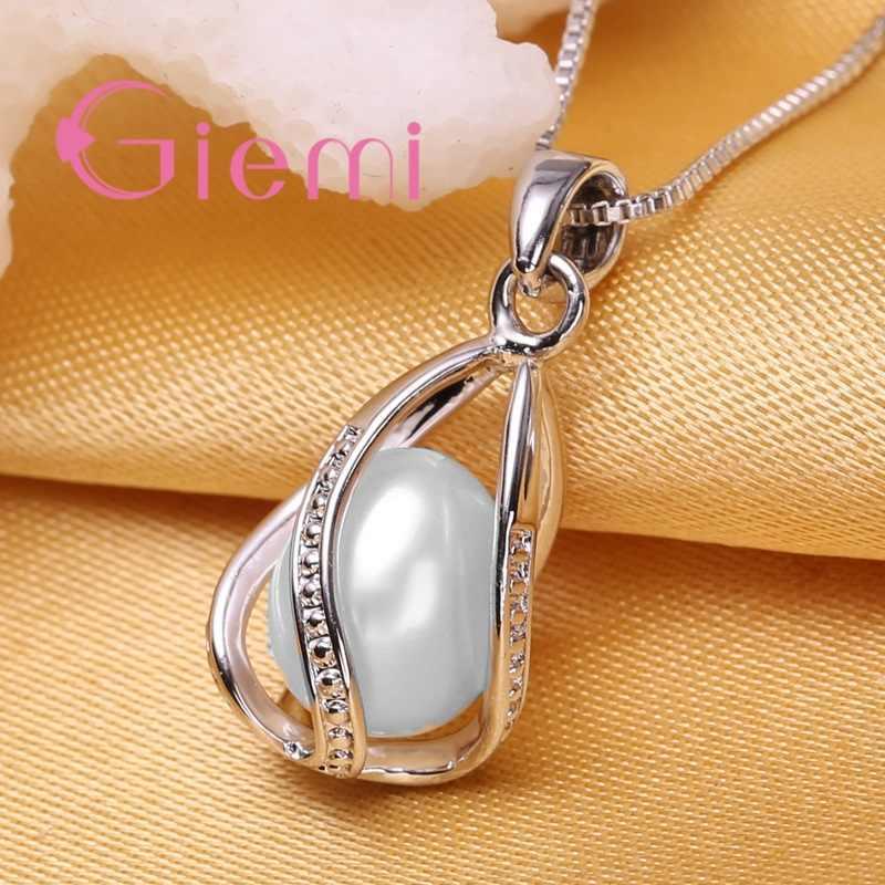 GIEMI Amazing Bông Tai Dành Cho Nữ Trang Sức Cùng Trang Sức Công Chúa Ngọc Trai Cưới Nữ Bạc 925 Màu Bạc Bông Tai Vòng Cổ