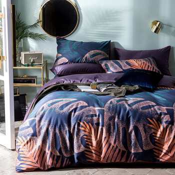 60S High Quality long staple cotton Neo Boho Bedding Sheet Queen Tropical Banana plants Print Girls Duve Cover Sheet Queen Size