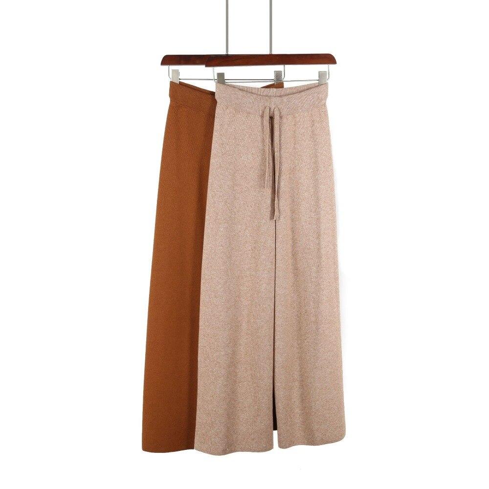 Women   capris   knitted wide leg   pants   loose pantalones straight trousers casual knitting long   pants   high waist bottoms knit   pants