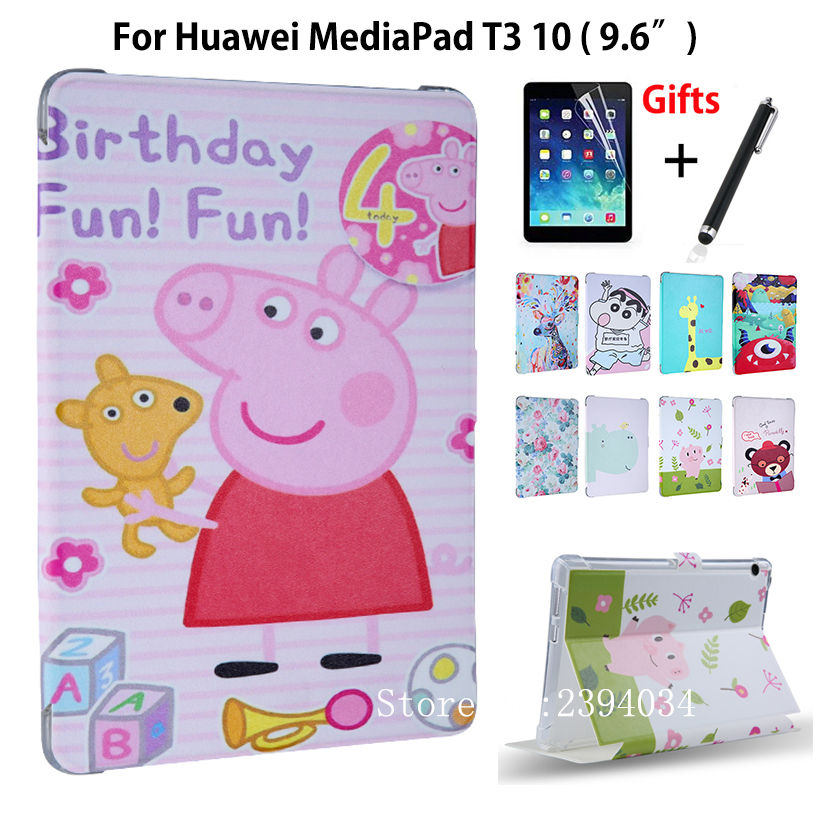 Case For Huawei MediaPad T3 10 AGS-L09 AGS-L03 9.6 inch Smart Cover Funda Cartoon PU for Honor Play Pad 2 9.6 Cover+Film+Pen