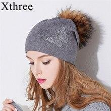 Xthree nuevo Rhinestone bordado sombrero de punto de lana de invierno para  las mujeres Beanie Skullie 396a3e44277f