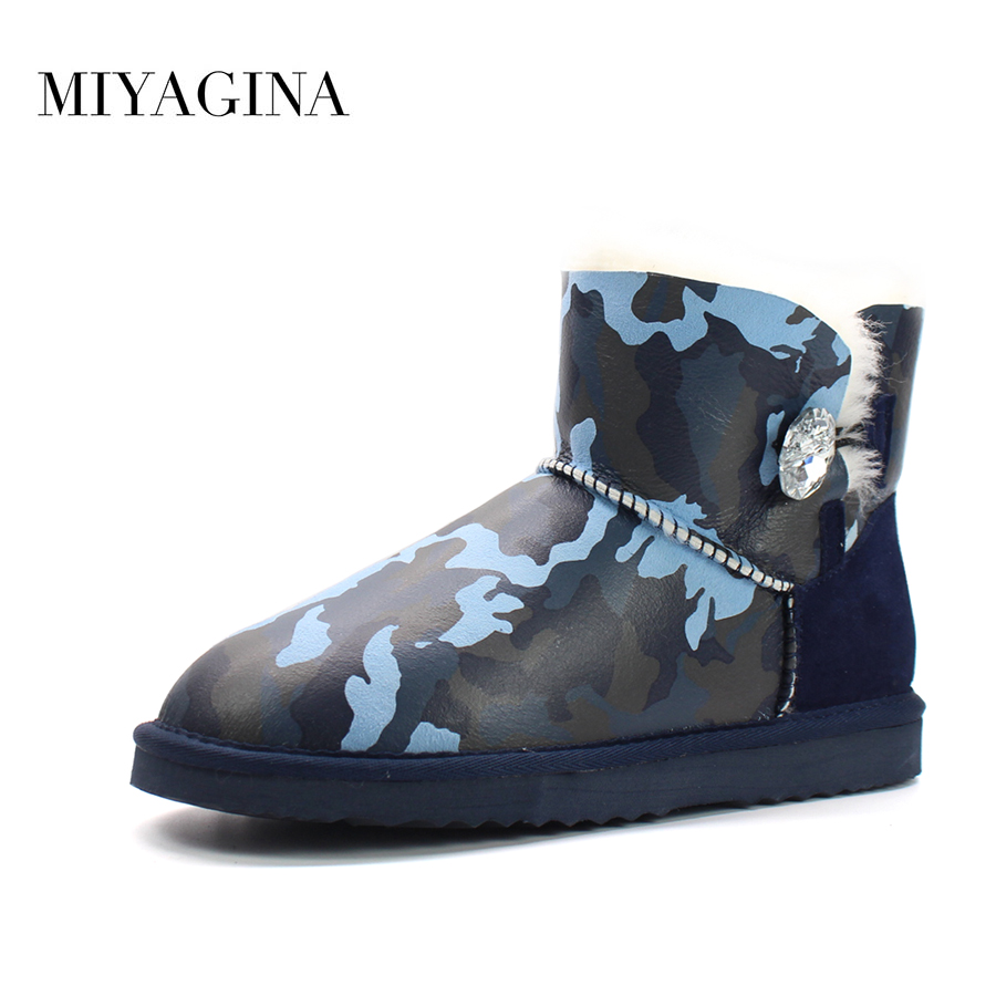 Top Quality 2018 New Fashion 100% Natural Fur Botas Mujer Genuine Sheepskin Leather Snow Boots Winter Warm Women Ankle Shoes top quality 2018 new fashion 100