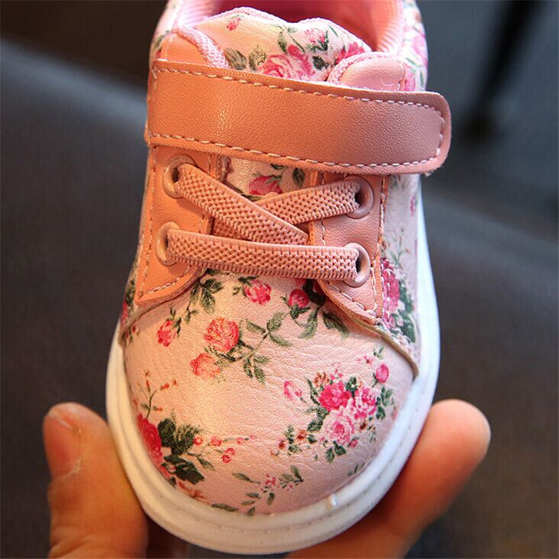 Cute Floral Pattern Design Baby Girls Shoes Comfortable Leather Kids Sneakers 3