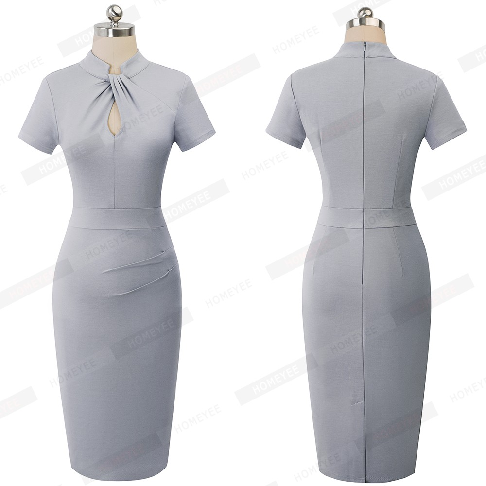 Elegant Work Office Business Drapped Contrasting Bodycon Slim Pencil Lady Dress Women Sexy Front Key Hole Summer Dress EB430 56