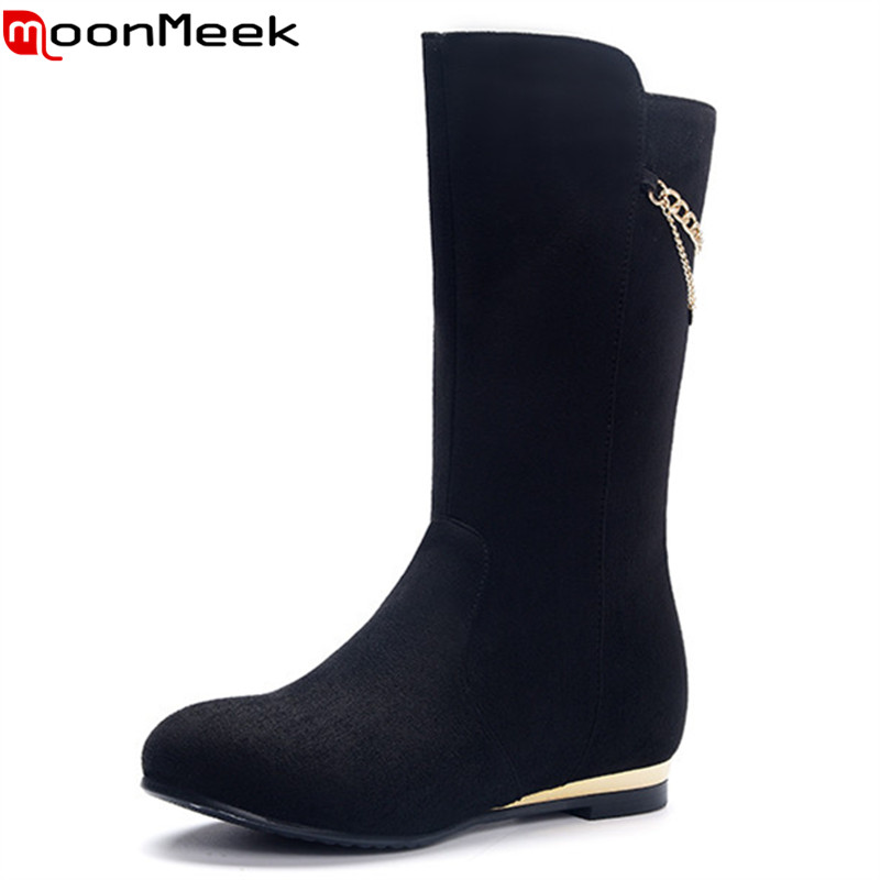 MoonMeek new arrive women boots fashion flock mid calf boots simple comfortable autumn winter height increasing lady boots double buckle cross straps mid calf boots