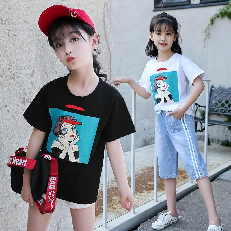 Summer Girl T-shirt Short Sleeve Tshirt Kids Cartoon Girls T Shirt Cotton Tee Shirt Enfant Girls Clothes 4 6 8 10 12 Years