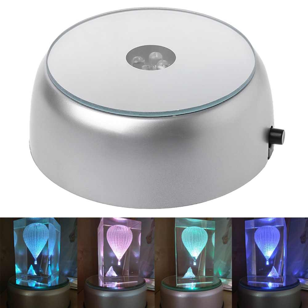 4-LED Round Luminous Base Laser Light Stand Holder For Cocktail Crystal Glass Transparent Objects Display