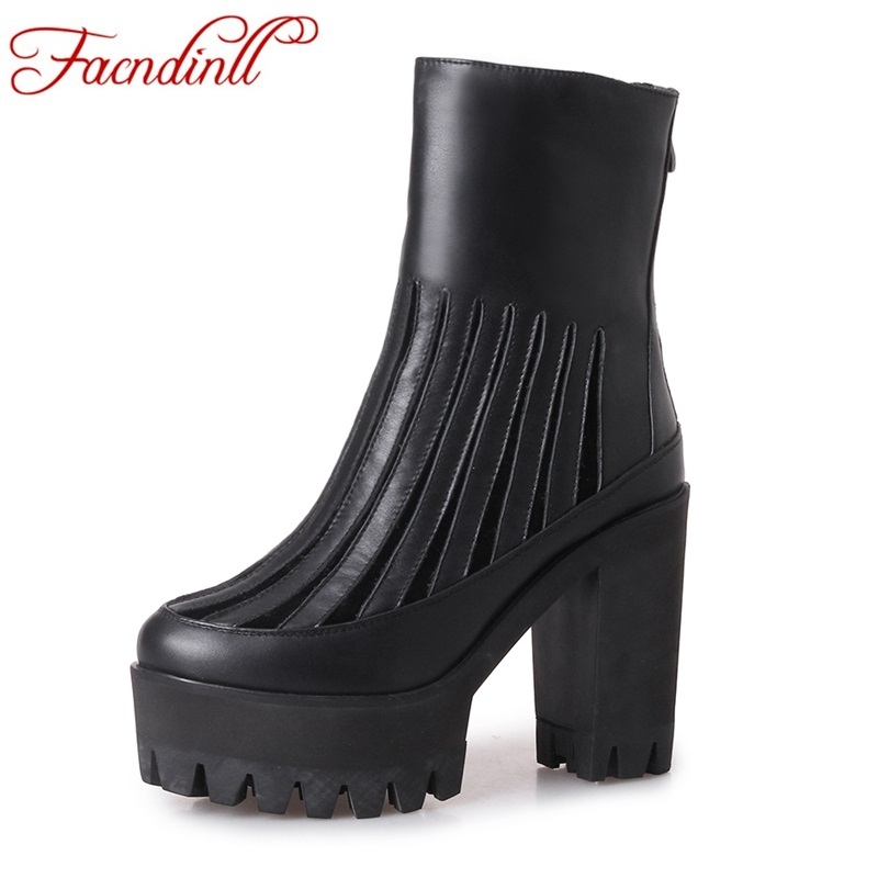 FACNDINLL new fashion genuine leather ankle boots for women shoes sexy high heels platform black zipper dress party riding boots whensinger 2017 new women fashion boots genuine leather fashion shoes rubber sole hands sewing 2 color 7126