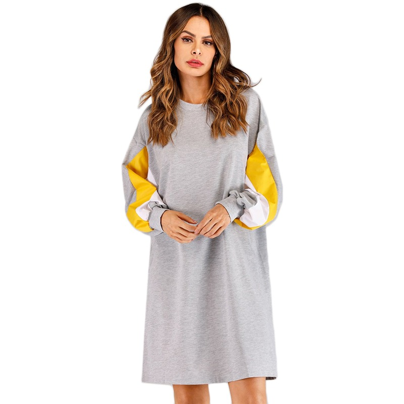 d59741e130e5 ROMWE Grey Drop Shoulder Colorblock Long Sleeve Dress Women Clothes Autumn  Casual Clothing Knee Length Sweatshirt