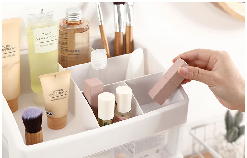 Plastic Cosmetic Storage Box to Organize Makeup with Drawers for Dressing Table of Women 12