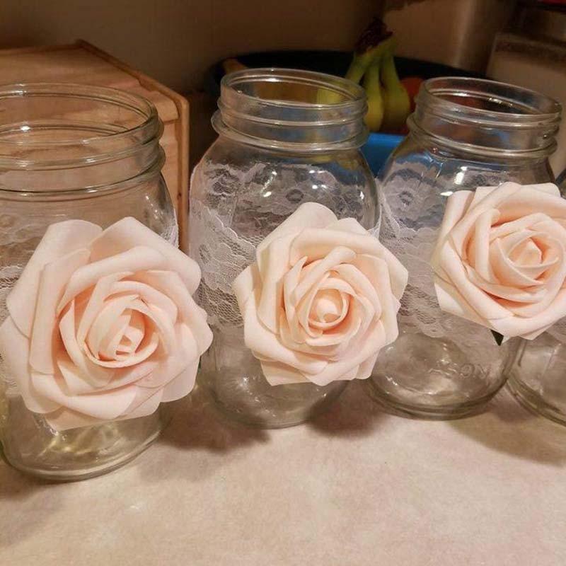 20pcs 6cm Pretty Rose PE Foam Artificial Flower Head for DIY Wedding Bouquet Garland Flower Ball Gift Box Home Decoration(China)