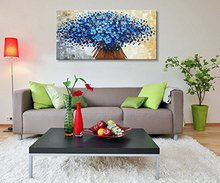 Canvas Painting Abstract Wall Art Modern Holiday Gift Blue Flower Oil Contemporary Artwork Floral Top Arts